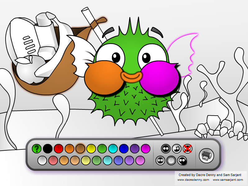 screenshot of colouring game developed for asthma waikato - Colouring In Game
